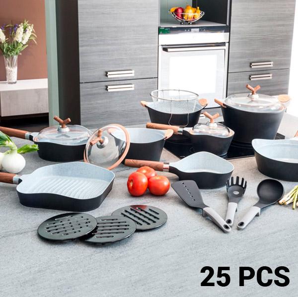Sartenes y Batería de Cocina Black Premium Bravissima Kitchen 10143502 (25 piezas)