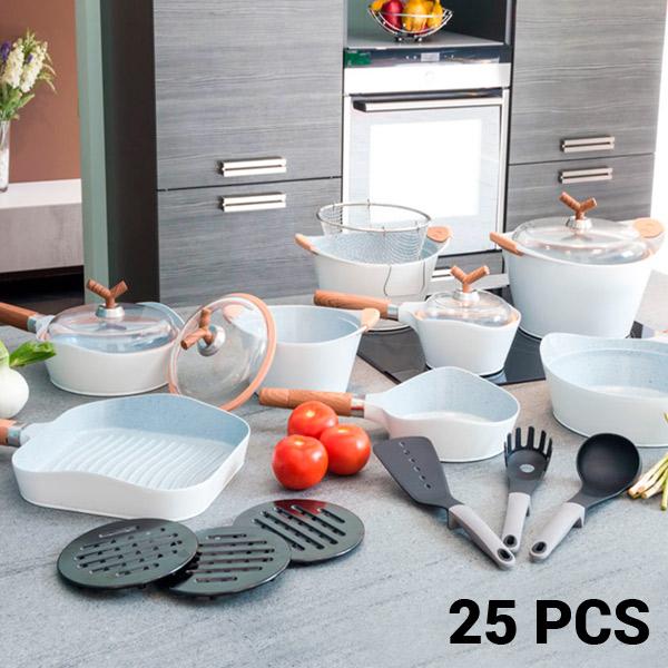 Sartenes y Batería de Cocina White Premium Bravissima Kitchen 10143502 (25 piezas)