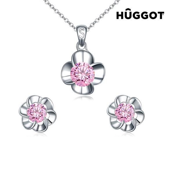 Set nakita prevlečenega z rodijem: obesek in uhani Pink Flower H?ggot, s cirkoni (45 cm)