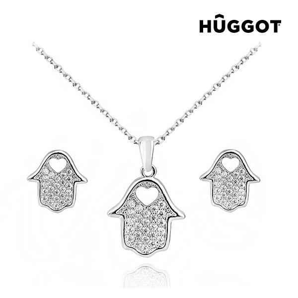 Set nakita prevlečenega z rodijem: obesek in uhani House H?ggot, s cirkoni (45 cm)