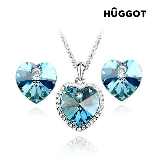 Set nakita prevlečenega z rodijem: obesek in uhani Cinderella H?ggot, s cirkoni, izdelan s kristali
