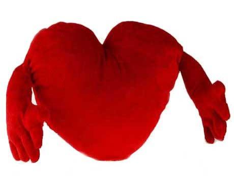 Rdeče srce z rokami 70 cm