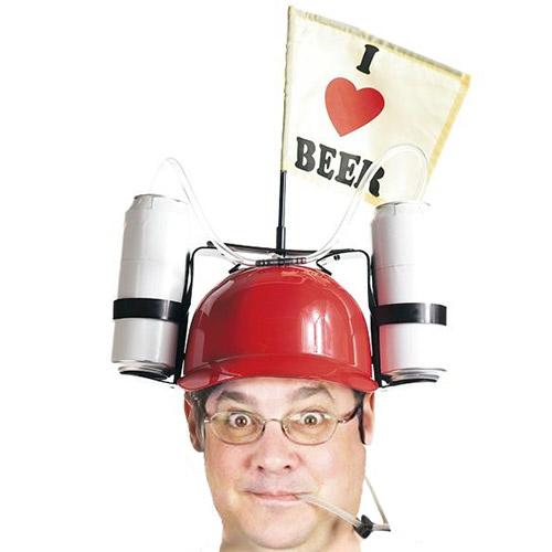 Pivska Čelada I Love Beer z Držaloma za Pijačo  - Rdeča