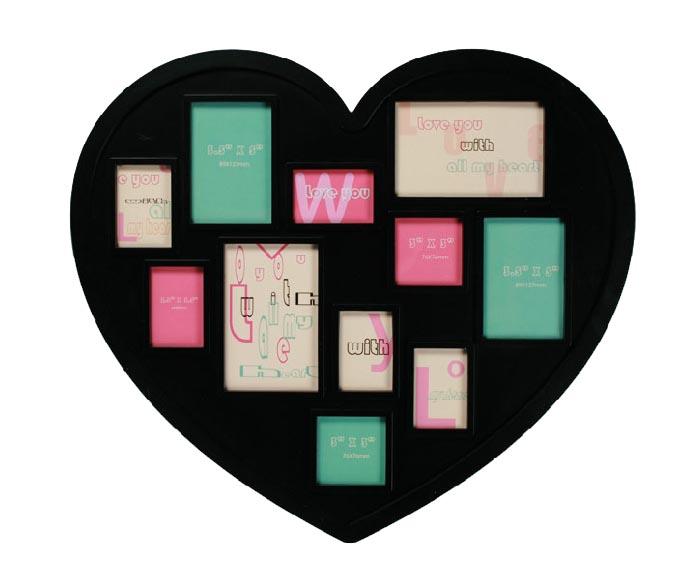 Okvir v Obliki Srca za 11 Fotografij - Rdeča
