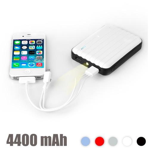 Prenosni Polnilec z LED Lučko 4400 mAh - Črna